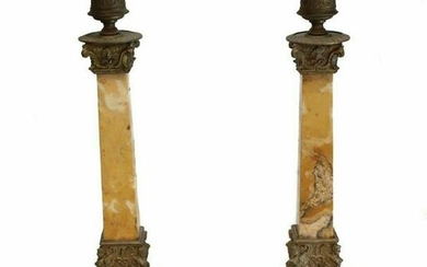 Pair Sienna Marble & French Metal Mounted Candlesticks
