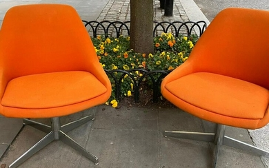 Pair Vintage Knoll Steelcase Barrel Back Chairs