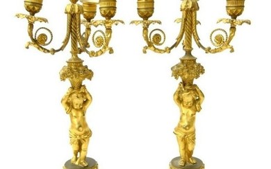 Pair of 19th C. Dore Bronze Figural Bronze Candelabras