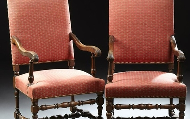 Pair of French Louis XIV Style Carved Walnut Fauteuils