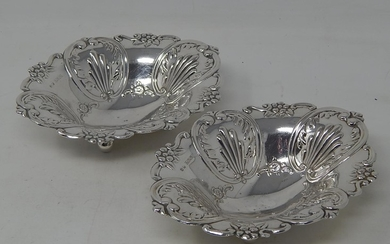 Pair of Heavy Silver Bon Bon Dishes of Oval Shaped Form on F...