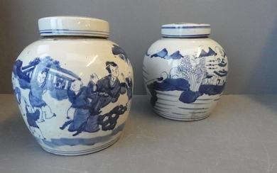 Pair of Lidded ginger jars decorated in blue & white Orienta...