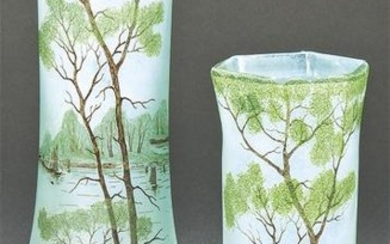 Pair of polygonal vases Art Nouveau in painted glass,