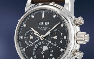 Patek Philippe, Ref. 5004P An important, very rare and extremely elegant platinum split second chronograph wristwatch with perpetual calendar, moonphases, additional dial, Certificate and box