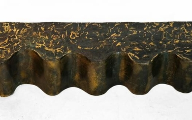 """Paul Evans-Style Bronze """"Waves"""" Wall Console"""