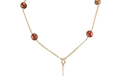 Pearl Diamond Necklace Cultured Tahitian Copper Brown
