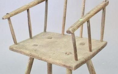 Primitive plank seat arm chair, English or French, 18th