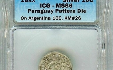 RARE PARAGUAY 18xx 10 CENTS ON ARGENTINA 10C -PATTERN