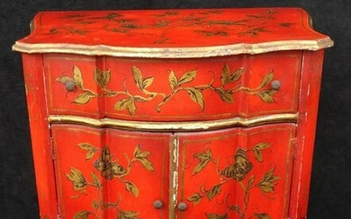 "RED CHINOISERIE DECORATED CABINET 29""H 26""W 17""D"