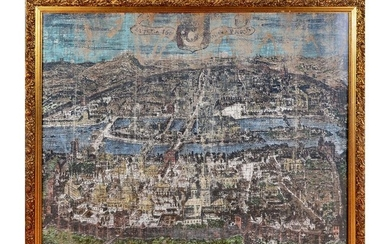 REPRODUCTION PAINTING OF PARIS MAP FROM 1600