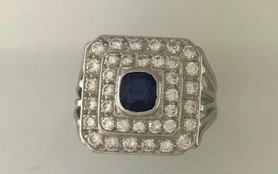 Ring 750°/°°° white gold wire set with a sapphire in a double tourage of diaamonds, Finger turn 53, Gross weight: 10,46g
