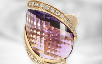 Ring: Italian designer ring with large amethyst and...