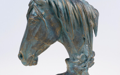 SCULPTURE, patinated cast iron, horse head, contemporary.