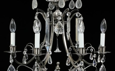 SILVER AND CRYSTAL CHANDELIER H 28'' W 21''