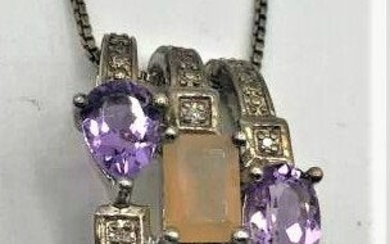 STERLING 3-BAND PENDANT With AMETHYST, OPAL On CHAIN