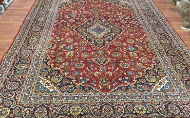 Semi Antique Persian Kashan Rug-4521