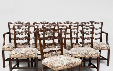 Set of Eight Chippendale Mahogany Side Chairs, Modern