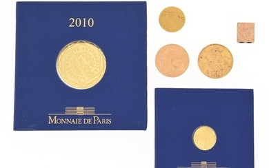Set of five miscellaneous gold coins including
