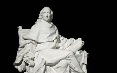 """""""Sèvres Biscuit from the series of Great Men representing Charles de Secondat, Baron de La Brède and Montesquieu, seated, holding the Spirit of the Laws, on a square base bearing the intaglio inscription: MONTESQUIEU Modèle de Clodion. Marked Sèvres..."""