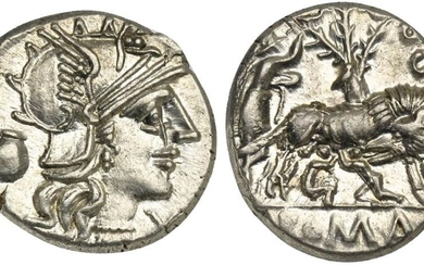 Sex. Pompeius Fostlus, Denarius, Rome, 137 BC. AR (g 3,93; mm 20; h 9). Helmeted head of Roma r.; capis to l., denomination mark before, Rv. She-wolf standing r., head l., suckling the twins (Remus and Romulus); to l., shepherd Faustulus standing r.;...