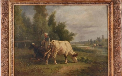 Signed Martinez, Farmer with cows, cloth 19th century