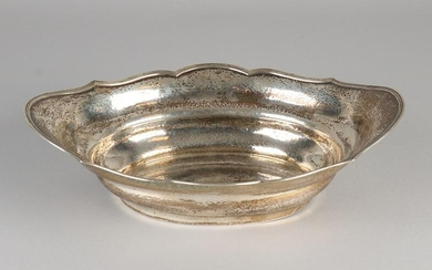 Silver bowl, 833/000, oval contoured model with a