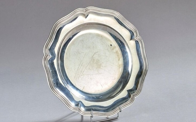 Silver dish with contoured rim. Minerva punch.