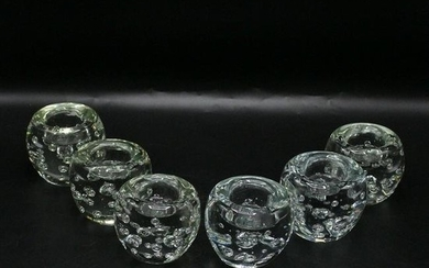 Six [6] Mid-Century Modern Glass Candle Holders Bubbles