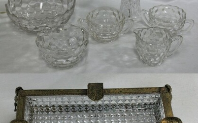 Six Pieces Glass Articles Plus Crystal Ashtray.