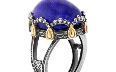 Stambolian Aged Silver & 18K Gold Ring with Tanzanite