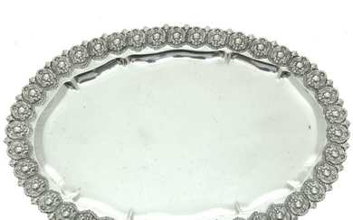 Sterling Silver Large and Impressive Oval Serving Tray.