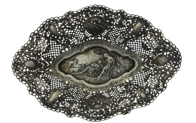Sterling Silver Oval Bowl Basket, Germany, Early 20th Century.
