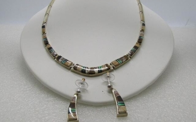 Sterling Touche of Sante Fe Inlaid Necklace & Earrings