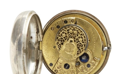 Sterling silver open-face pocket watch A. Hollisone, Liverpool, England,...