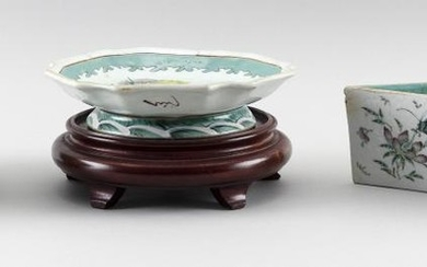 """THREE PIECES OF CHINESE FAMILLE ROSE PORCELAIN 1) Triangular planter with flower and insect decoration. Height 3.25"""". Length 10"""". 2)..."""