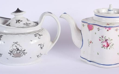 TWO 18TH CENTURY ENGLISH TEAPOTS AND COVERS. 23.5 cm