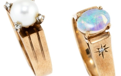 TWO 9CT GOLD DIAMOND AND STONE SET RINGS; 4 claw set with a 6.6mm round cultured pearl with a single cut diamond set on top of each...