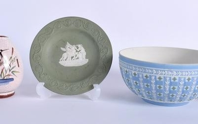 TWO WEDGWOOD JASPERWARE ITEMS together with a vase etc