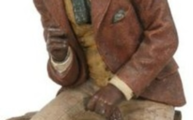 Terracotta Figure of a Black Man with Straw Hat