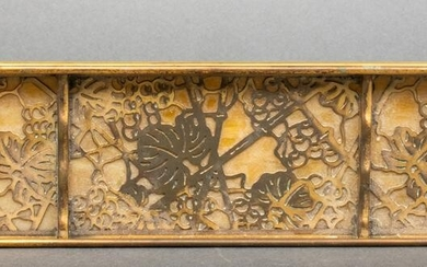 "Tiffany Studios ""Grapevine"" Bronze Pen Tray"
