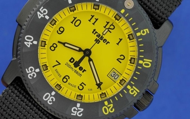 Traser - H3 Diver Yellow Carbon Bezel with Black NATO Strap Swiss Made - 100217- Unisex - BRAND NEW