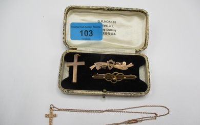 Two 9ct gold cross pendants and a chain and two gold bar bro...
