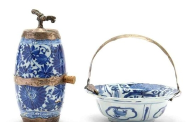 Two Blue & White Chinese Ceramics with Dutch Silver