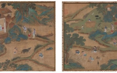 Two Chinese Ink and Color Figural Landscape Paintings on Silk after Qiu Ying