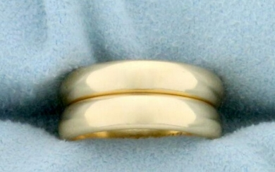 Two Gold Stacking Band Rings in 14K Yellow Gold