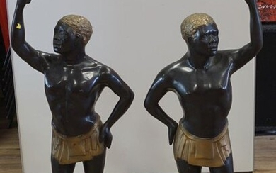 Two bronze sculptures of African men with torch, 20th century, h. 125 cm, Provenance: Landgoed Altembrouck (2x)