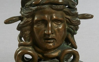 Unusual Patinated Bronze Medusa Inkwell, 19th c., on a