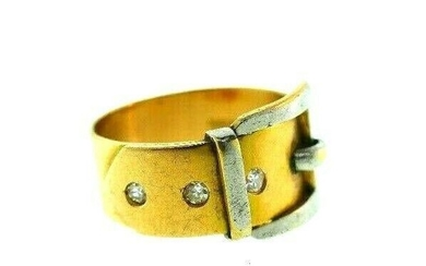 VINTAGE 18k Yellow & White Gold & Diamond Buckle Ring