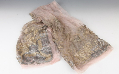 VINTAGE MAUVE LACE SQUARE SCARF WITH METALLIC BEADED DETAIL ....