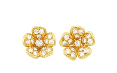 Van Cleef & Arpels Pair of Gold and Diamond Flower Earrings